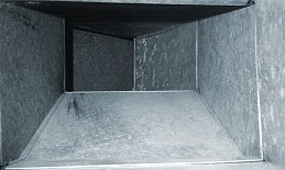 Clean air duct after using Abatement source removal duct cleaning equipment.